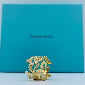 Tiffany & Co 18K Yellow Gold Olive Leaf Ring Band
